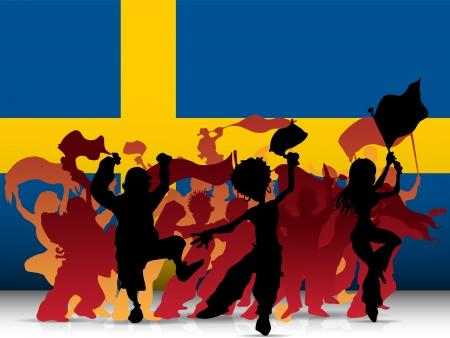 soccer fan: Sweden Sport Fan Crowd with Flag