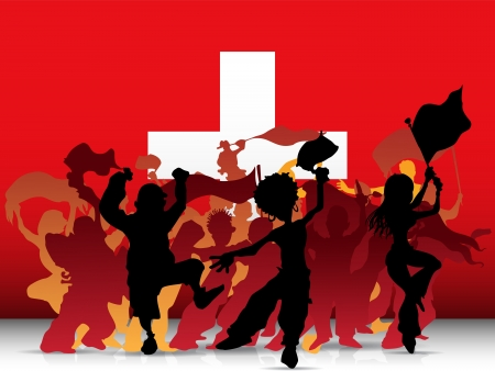 football fan:  Switzerland Sport Fan Crowd with Flag