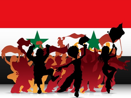 Vector - Syria Sport Fan Crowd with Flag Vector