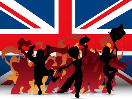 soccer fan:  UK Sport Fan Crowd with Flag Illustration