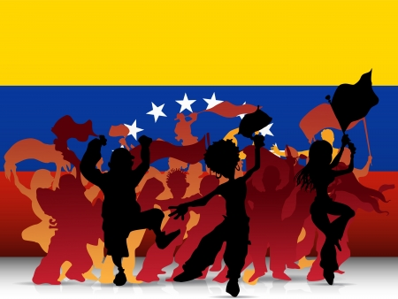 Venezuela Sport Fan Crowd with Flag Vector