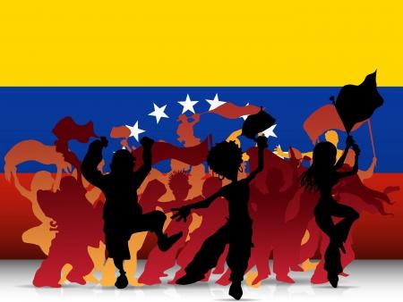 soccer stadium crowd:  Venezuela Sport Fan Crowd with Flag