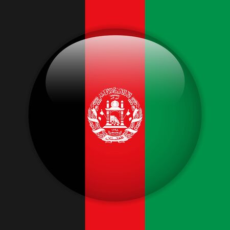 Afghanistan Flag Glossy Button Vector