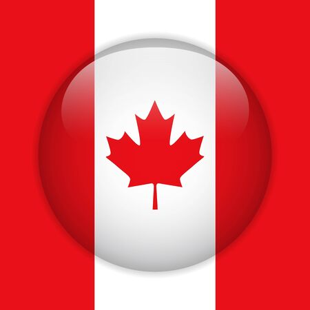 Canada Flag Glossy Button Vector