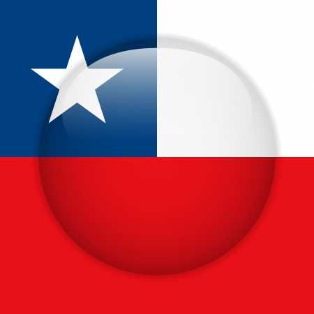 Chile Flag Glossy Button Vector