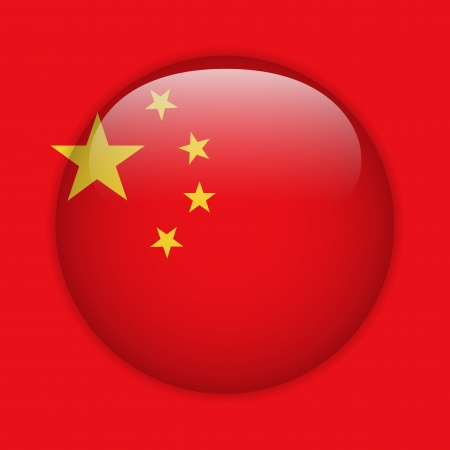China Flag Glossy Button Vector