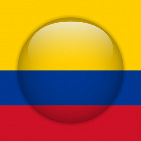 Colombia Flag Glossy Button Stock Vector - 14220507