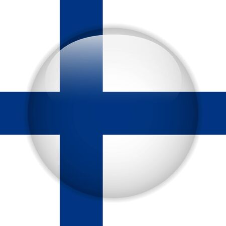 Finland Flag Glossy Button Vector