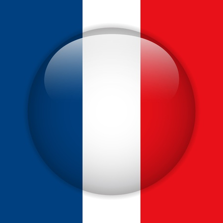 France Flag Glossy Button Stock Vector - 14220482