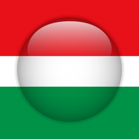 Hungary Flag Glossy Button Vector