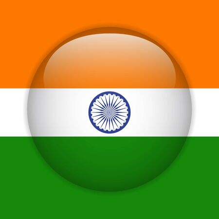 India Flag Glossy Button Vector