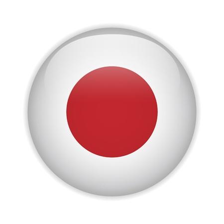 bandera japon: Jap�n Bandera brillante bot�n Vectores