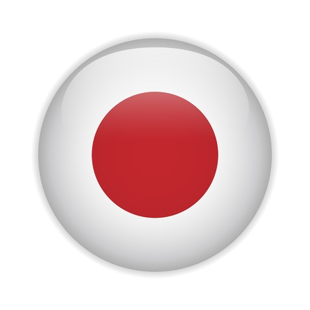 japanese flag: Japan Flag Glossy Button Illustration