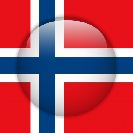 Norway Flag Glossy Button Vector