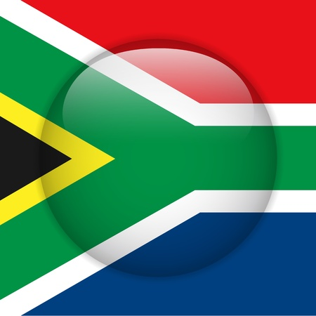 South Africa Flag Glossy Button Vector
