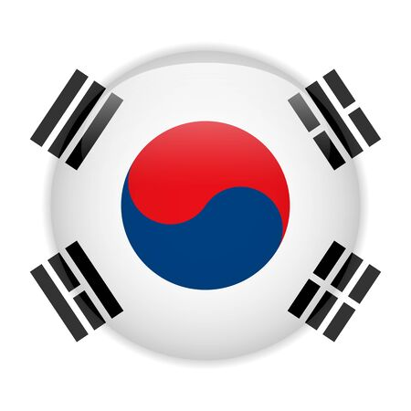 South Korea Flag Glossy Button Stock Vector - 14220741