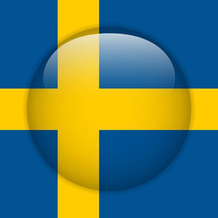 Sweden Flag Glossy Button Vector