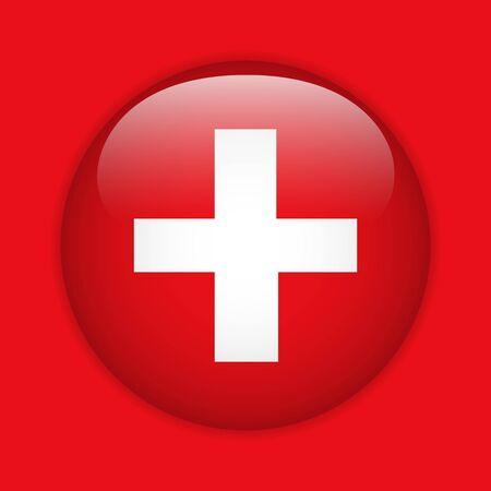 zwitserland vlag: Zwitserland Vlag glanzende knop Stock Illustratie