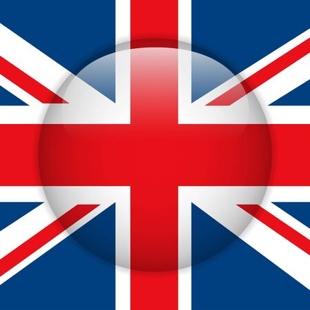 United Kingdom Flag Glossy Button Vector