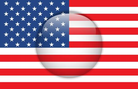 United States Flag Glossy Button Stock Vector - 14220867