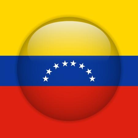 Venezuela Flag Glossy Button Stock Vector - 14220502