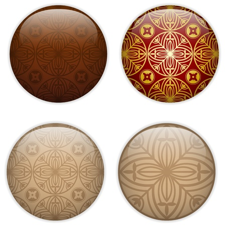 Glass Circle Button Basque Textures Vector