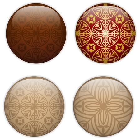Glass Circle Button Basque Textures Stock Vector - 14220886