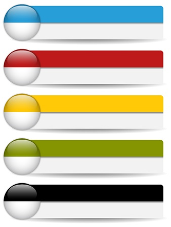 metal button: Glossy web buttons with colored bars.  Illustration
