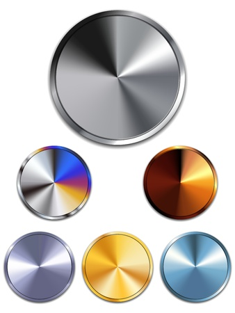 Metal Buttons. Silver, Gold, Copper Vector