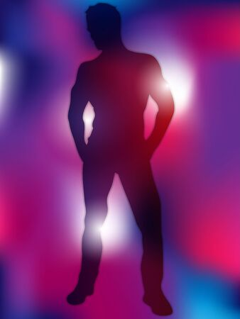 Sexy Boy Silhouette on Colorful Background Stock Vector - 14220899