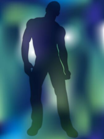 Sexy Boy Silhouette on Colorful Background Vector