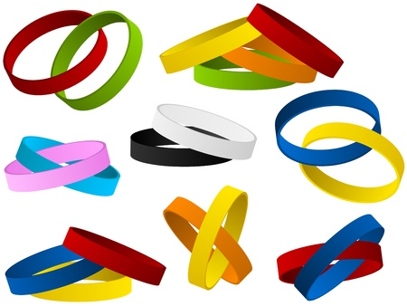 silicone: Set of colorful wristband