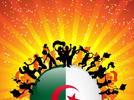 Algeria Sport Fan Crowd with Flag Vector