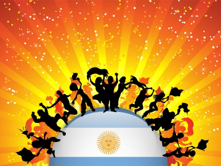 crowd happy people: Argentina Sport Fan Crowd with Flag Illustration