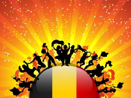 België Sport Fan Crowd met Vlag Stock Illustratie