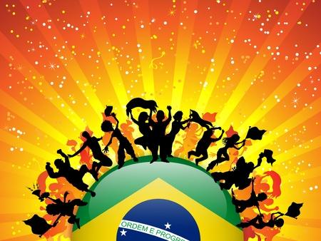 국기와 함께 브라질 스포츠 팬 군중