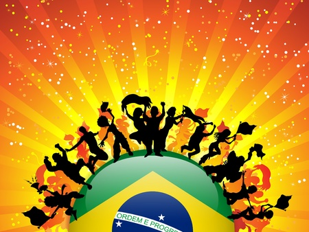 happy world: Brazil Sport Fan Crowd with Flag