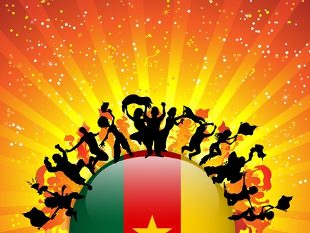Cameroon Sport Fan Crowd with Flag Vector
