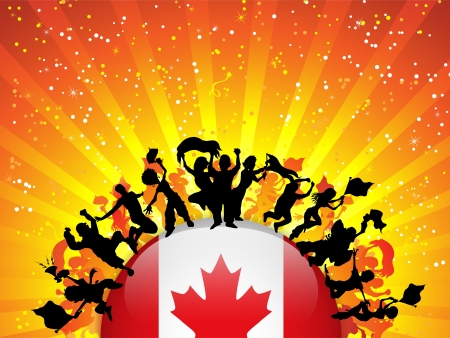 Canada Sport Fan Crowd with Flag Vector