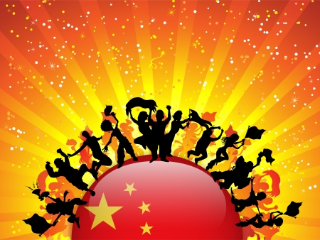 China Sport Fan Crowd with Flag Vector