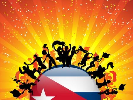 cuban flag: Cuba Sport Fan Crowd with Flag