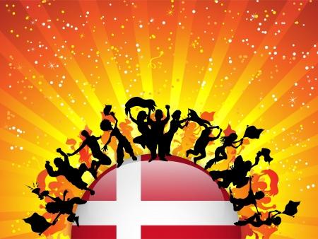 Denmark Sport Fan Crowd with Flag Vector