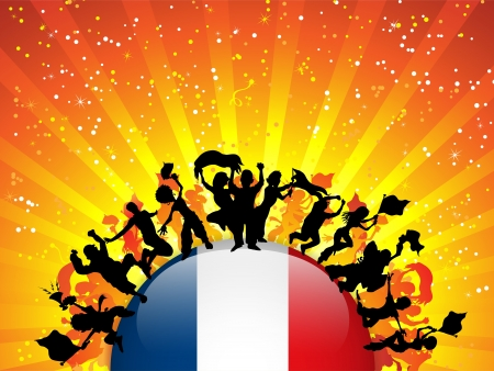 France Sport Fan Crowd with Flag Vector