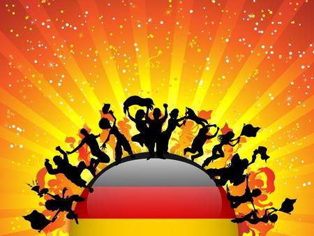 bandera alemania: Alemania Deportes Multitud ventilador con la bandera Vectores