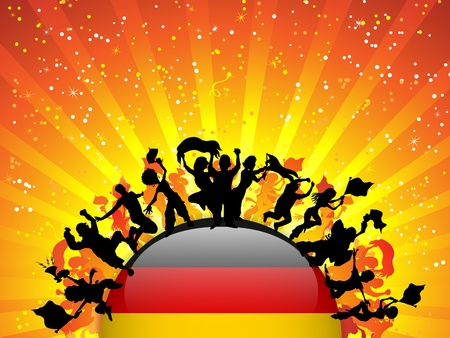 Germany Sport Fan Crowd with Flag Illustration
