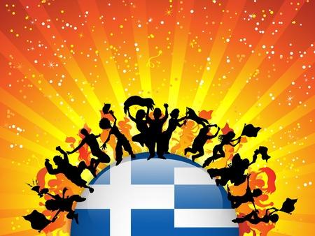 Greece Sport Fan Crowd with Flag Vector