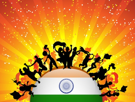 India Sport Fan Crowd with Flag Vector