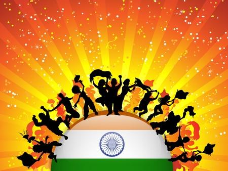 soccer fan: India Sport Fan Crowd with Flag