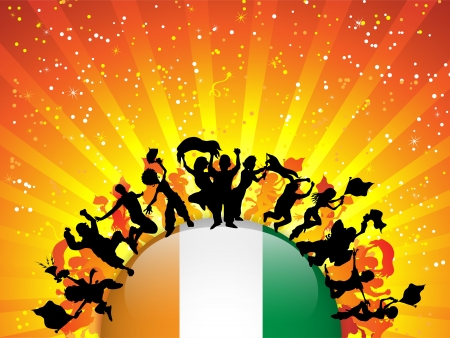 Ireland Sport Fan Crowd with Flag Stock Vector - 14648005