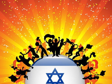 Israel Sport Fan Crowd with Flag Stock Vector - 14648028